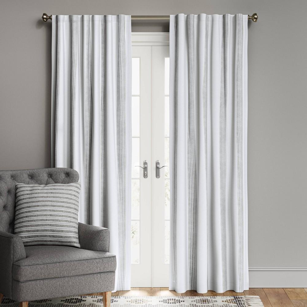 108 34 X50 34 Block Striped Blackout Window Curtain Panel White Gray Threshold 8482