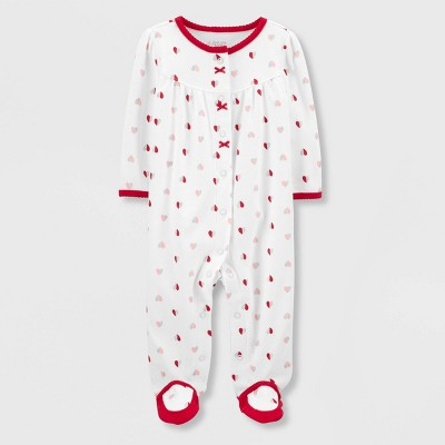Baby Girls' Hearts Interlock Sleep 'N Play 1pc Pajama - Just One You® made by carter's Red/White Newborn