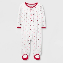 Baby Girls' Hearts Interlock Sleep 'N Play 1pc Pajama - Just One You® made by carter's Red/White