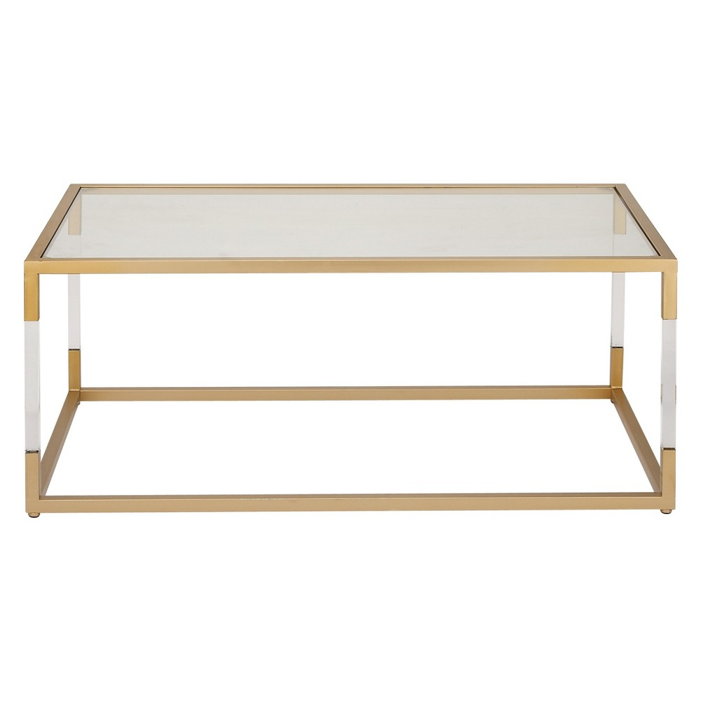 Metal and Glass Coffee Table Gold - Olivia & May