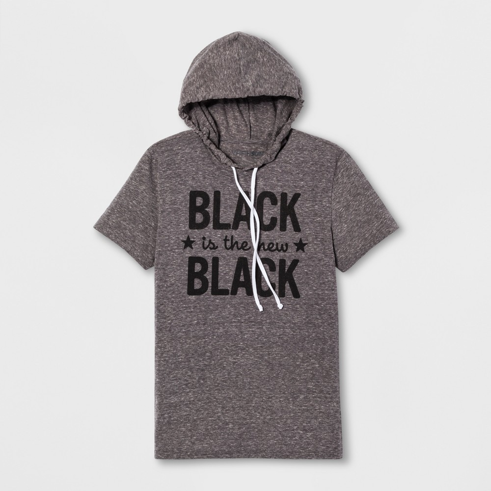 Adult Short Sleeve Black Is The New Black T-Shirt - Dark Heather L, Men's, Gray