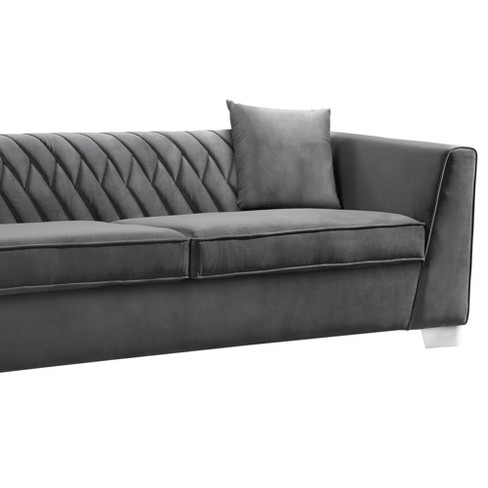 Armen Living Cambridge Contemporary Sofa Velvet Dark Gray