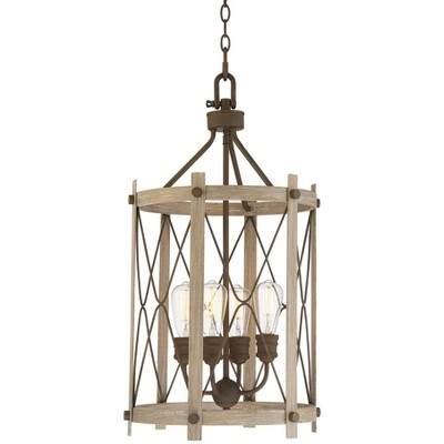 """Franklin Iron Works Rusted Bronze Faux Wood Foyer Pendant Chandelier 16 1/2"""" Wide Rustic Farmhouse Open Cage 4-Light Dining Room"""