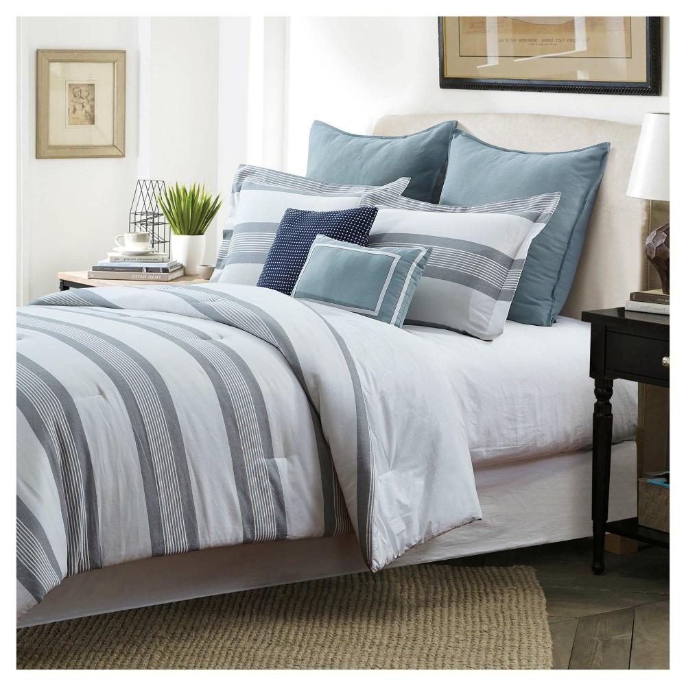 Blue Hudson Yarndye Stripe Comforter Set (Queen) 7 Piece - Style Quarters, White Gray
