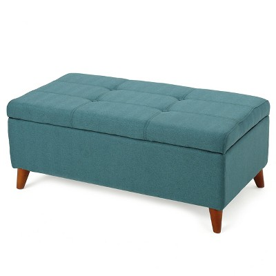 Harper Fabric Storage Ottoman Bench - Teal - Christopher Knight Home