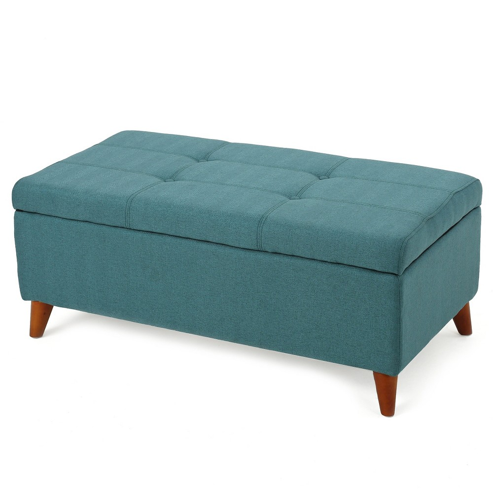 Harper Fabric Storage Ottoman Bench - Teal (Blue) - Christopher Knight Home