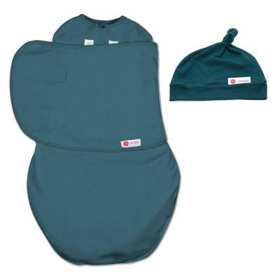 embé Starter Swaddle Original and Top Knot Hat Bundle - Spruce Blue