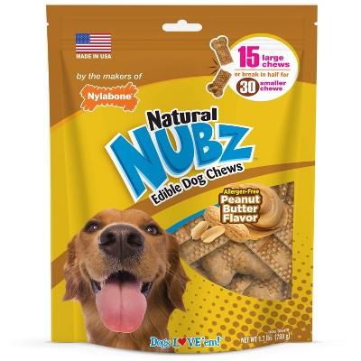 Nylabone Nubz Peanut Butter Large Chews Dog Treats - 15ct