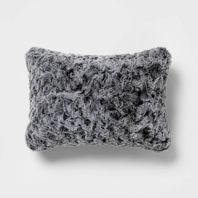 Oblong Textured Faux Fur Decorative Throw Pillow Gray - Threshold™