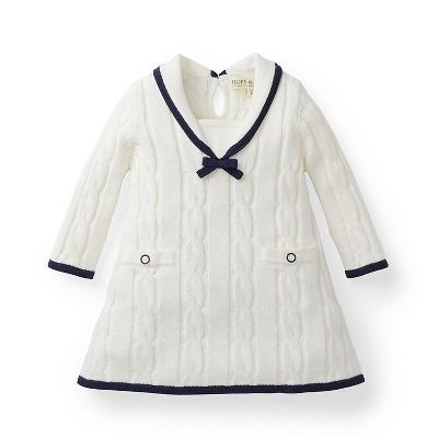 Hope & Henry Layette Girl White Sailor Sweater Dress, Infant