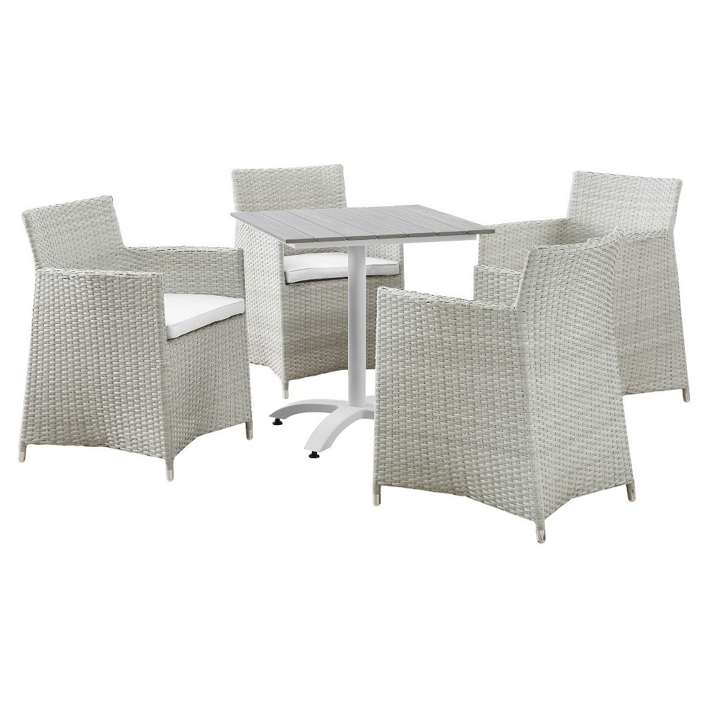 Junction 5pc Square All-Weather Wicker Patio Dining Set - Gray/White - Modway