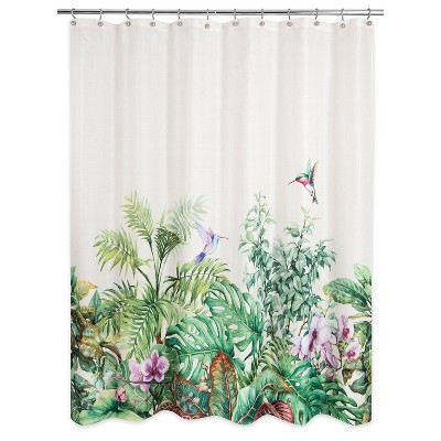 Palm Valley Shower Curtain White/Green - Allure Home Creations
