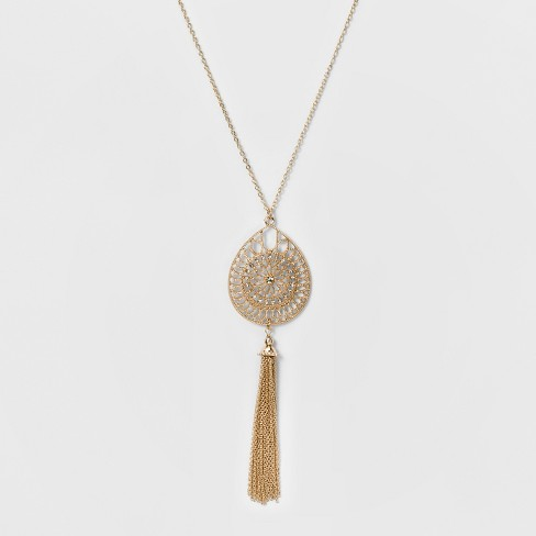 7e72932597927 Women s Long Necklace With Filigree Pendant   Tassel - Rose Gold  Clear  (34 )   Target