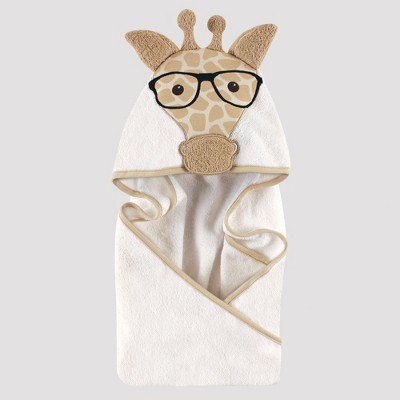 Hudson Baby Animal Face Hooded Towel, Giraffe - Beige 0-24M