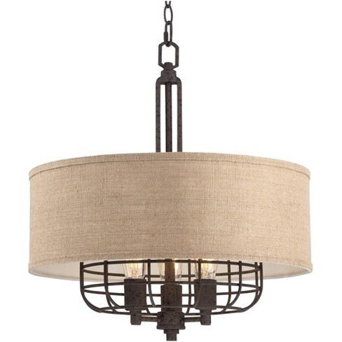 """Franklin Iron Works Rust Cage Pendant Chandelier 20"""" Wide 3-Light Industrial Tan Burlap Drum Shade Dining Room House Foyer Kitchen - image 1 of 4"""