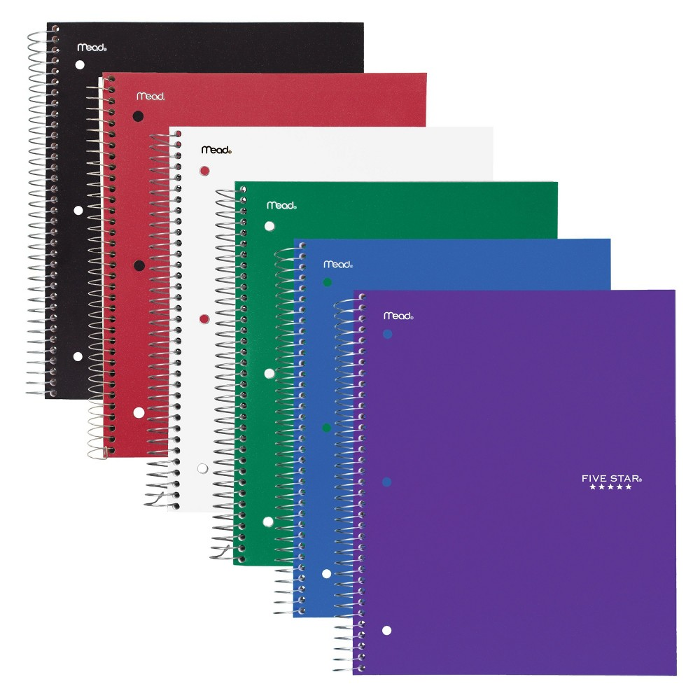 "Image of ""6ct 3 Subject Spiral Notebook College Ruled 11"""" x 8.5"""" Classic Color - Five Star"""