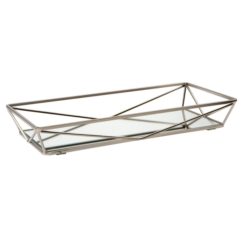 Image of Geometric Mirrored Vanity Tray Silver - Home Details