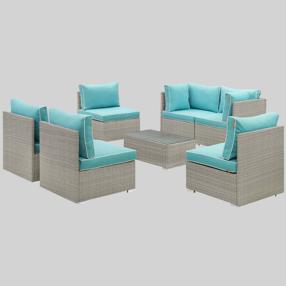 Repose 7pc Outdoor Patio Sectional Set Turquoise Modway