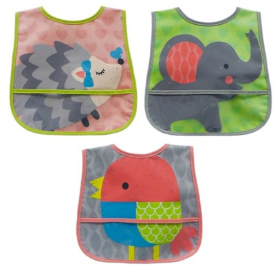 Neat Solutions 3pk Printed Translucent Peva/ Knit Baby Bib Set - Pink