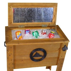 45 Qt Wooden Cooler - Rustic Wood Brown - Backyard Expressions