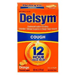 Delsym 12 Hr Cough Relief Liquid - Dextromethorphan - Orange - 3 fl oz