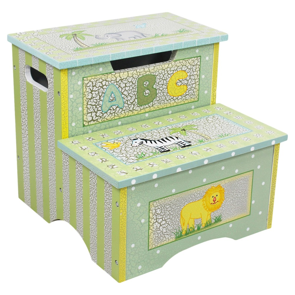 Kids Safari Crackle Step Stool with Storage - Teamson, Green Are you looking for quality and fine craftsmanship? Look no further with Teamson Kids' Crackled Safari Step Stool. Hand painted and crafted with designs of elephants. lions and trees. this step stool offers an attractive appearance as well as multiple features! Not only can your child use this stool to reach things up high. but they can store small belongings underneath the top step that pops up to reveal a storage area. Crackled look offers a vintage effect. but make no mistake about it. this product is made from quality wood and built to last. Some assembly required. Perfect for ages 3 and up. Color: Green.