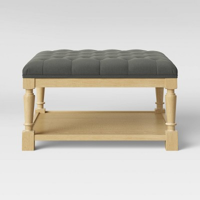 Belhaven Tufted Cocktail Ottoman with Wood Legs - Threshold™