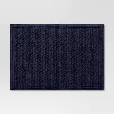 "21""x30"" Performance Solid Cotton Bath Mat Navy Blue - Threshold™"