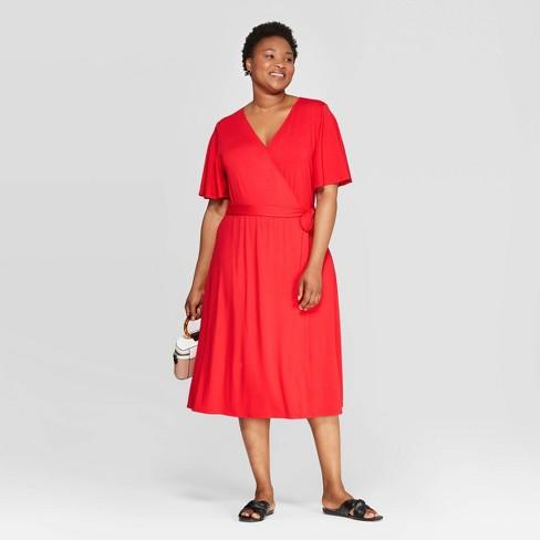 Women\'s Plus Size Short Sleeve V-Neck Knit Wrap A-Line Dress - Ava ...