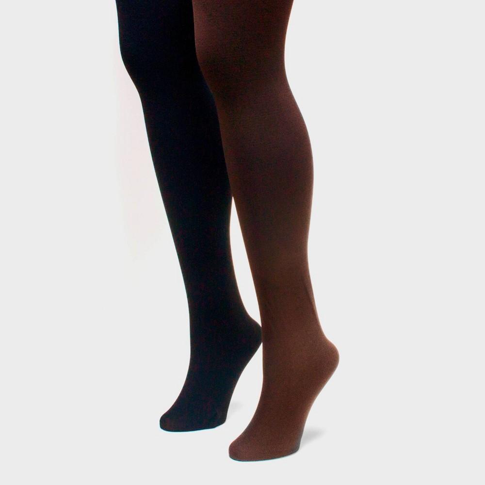 Muk Luks Women 39 S Fleece Lined 2pk Tights Black Brown L
