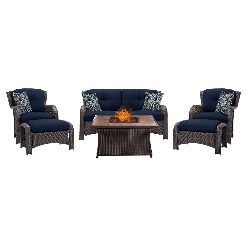 Strathmere 6pc All-Weather Wicker Patio Conversation Set w/ Fire Pit Table - Navy Blue - Hanover