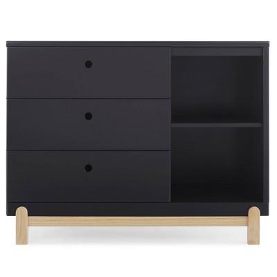 Delta Children Poppy 3 Drawer Dresser with Cubbies - Midnight Gray/Natural