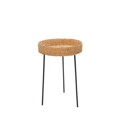 """24"""" Rattan Round Accent Table Brown - Sagebrook Home"""