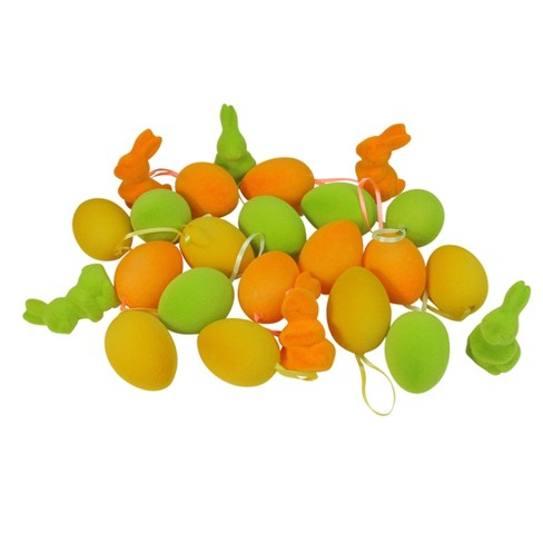 """Northlight 24ct Spring Easter Egg Ornaments and Bunny Figures 2.5"""" - Orange/Green - image 1 of 3"""