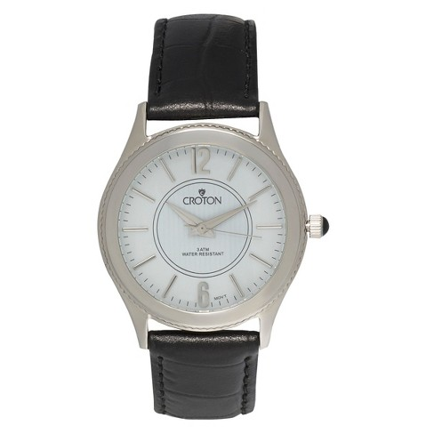 Men's Croton Stainless Steel Watch with Black Leather Band - image 1 of 3