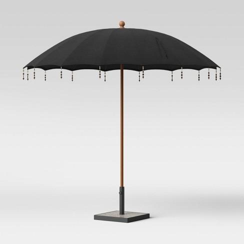 9' Beaded Tassels Patio Umbrella Black - Wood Pole - Opalhouse™ - image 1 of 3