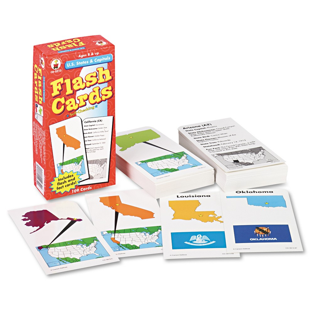 Image of Carson-Dellosa Publishing Flash Cards, U.S. States and Capitals, 3w x 6h, 109/Pack