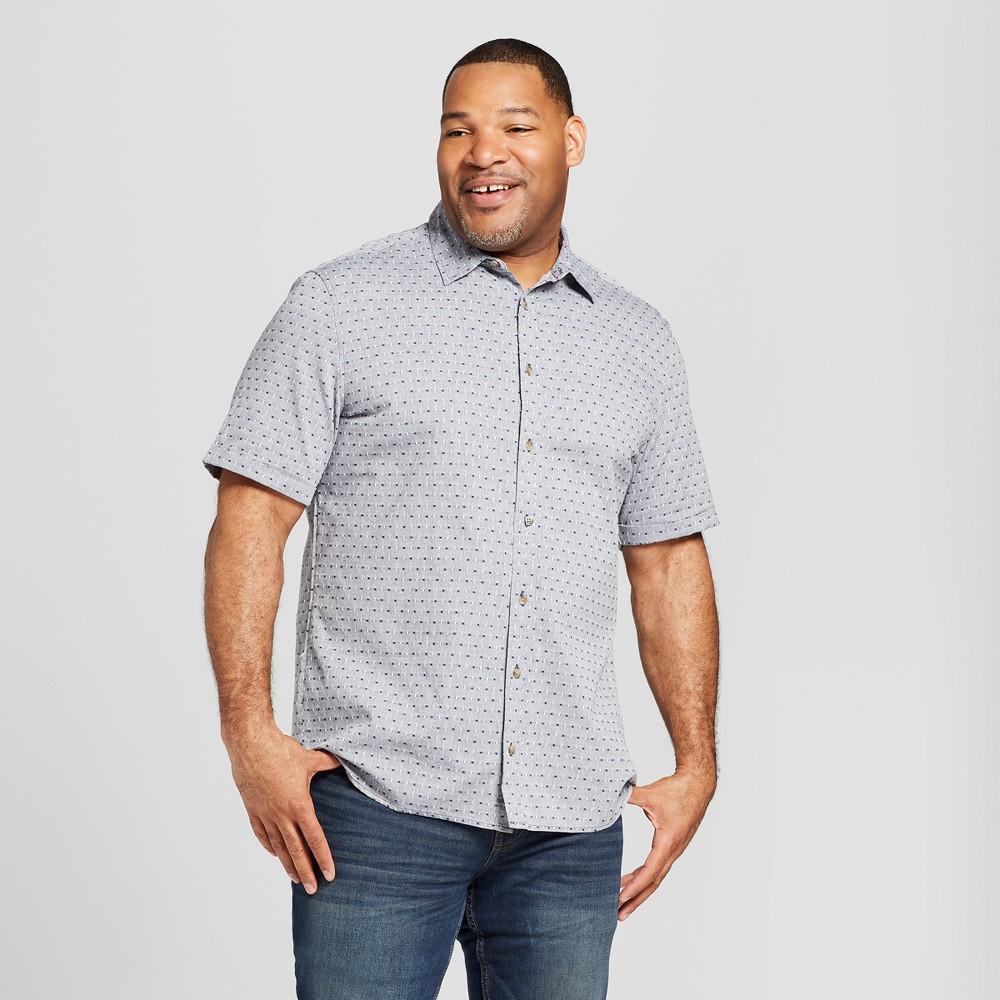 Men's Tall Short Sleeve Novelty Button-Down Shirt - Goodfellow & Co Bay City Blue LT