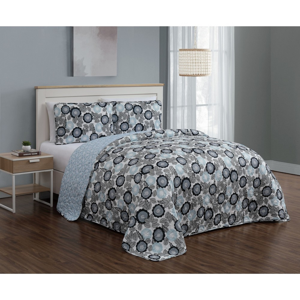 Image of 3pc Queen Marka Quilt Set Blue - Geneva Home Fashion