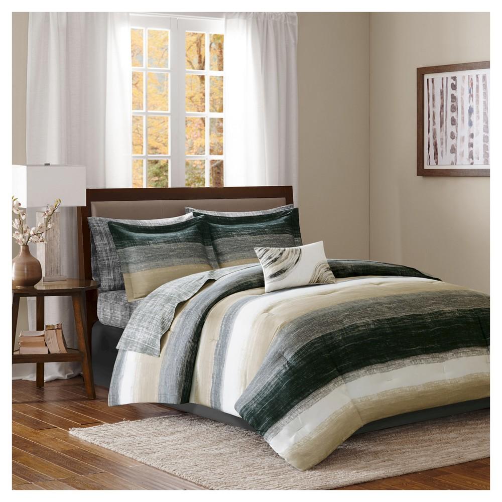 Top Seth Striped Complete Multiple Piece Comforter Set (Queen) 9-Piece