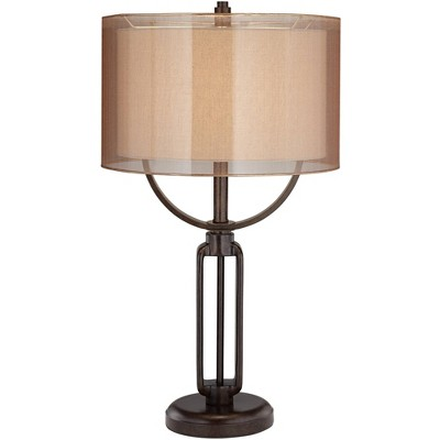 Franklin Iron Works Modern Industrial Table Lamp Oil Rubbed Bronze Metal Sheer Double Shade for Living Room Family Bedroom Bedside
