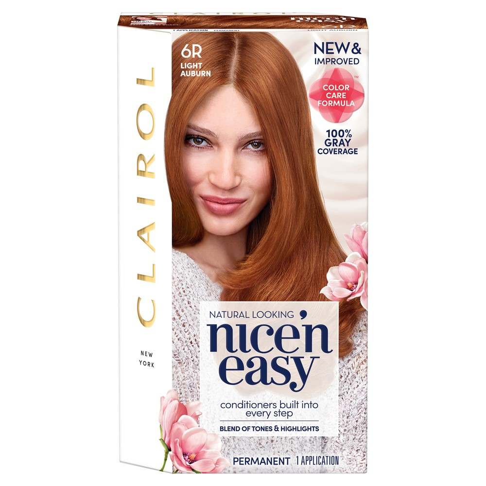 Image of Clairol Nice 'N Easy Permanent Hair Color - 6R Light Auburn - 1 Kit