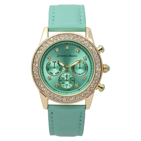 Women's Journee Collection Rhinestone Accented Round Face Patent Leather Strap Watch - Mint - image 1 of 2