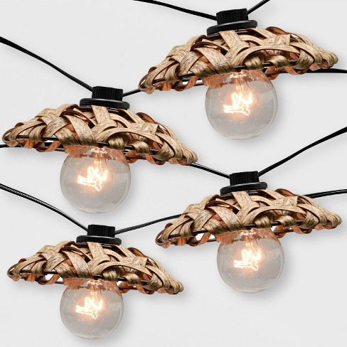 10ct Outdoor Natural Woven Open Hood String Lights - Opalhouse™ - image 1 of 2