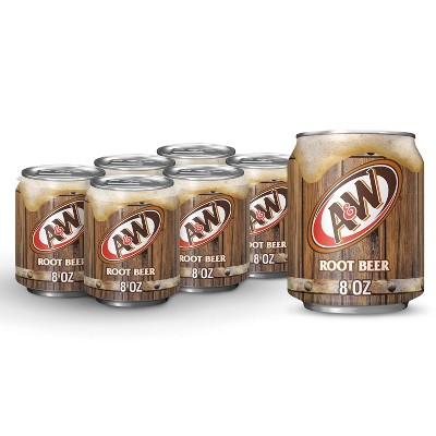 A&W Root Beer Soda - 6pk/8 fl oz Cans