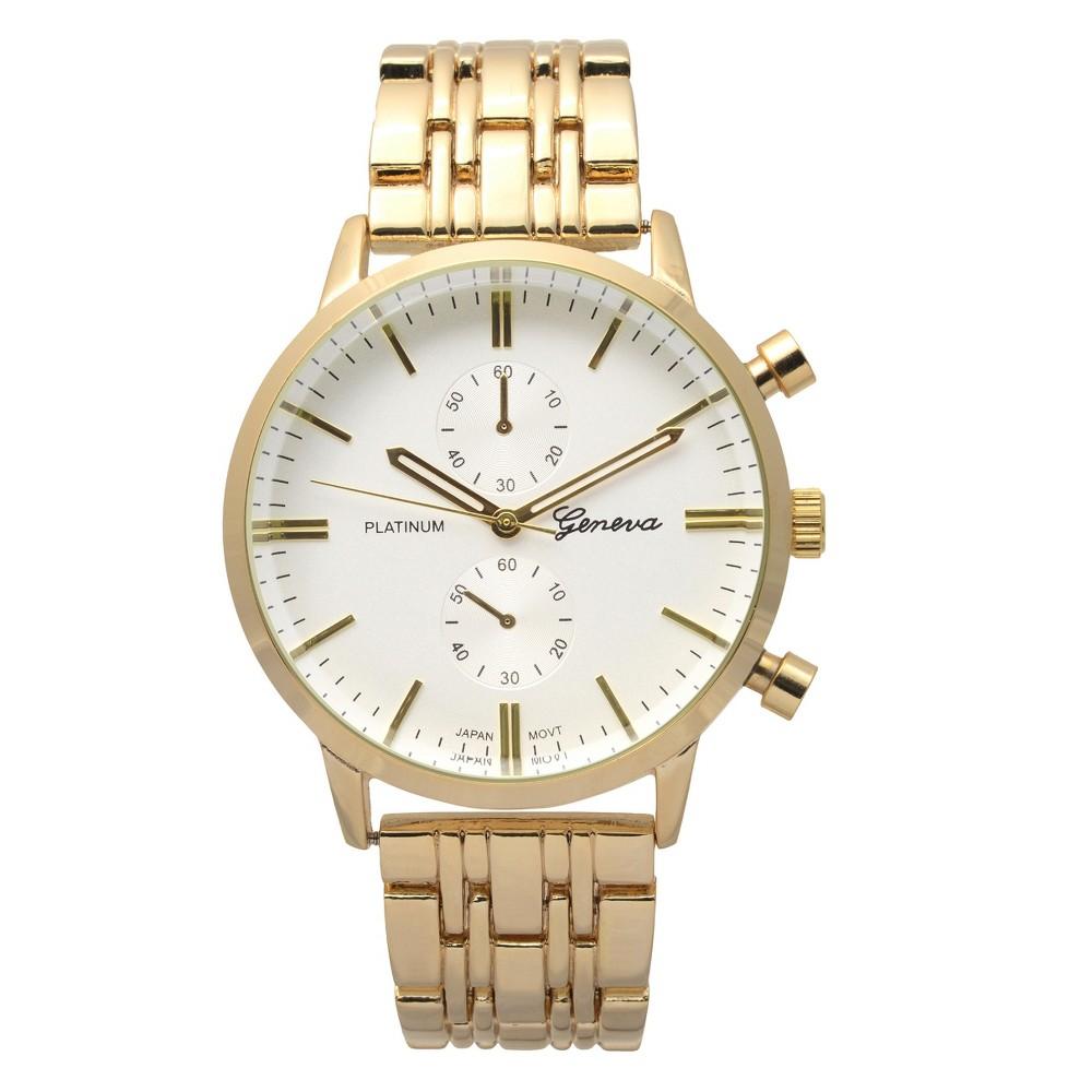 Women's Geneva Platinum Round Face Quartz Link Watch - Gold, Size: Large
