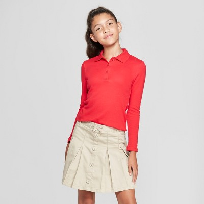 16dea21cf2 French Toast Girls  Long Sleeve Interlock Uniform Polo Shirt – Red S ...