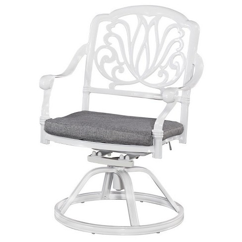 Home Styles Floral Blossom Patio Swivel Arm Chair With Cushion - White - image 1 of 2