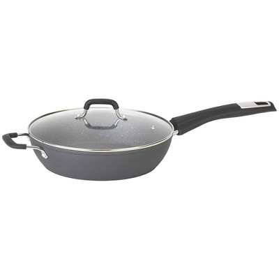 Bialetti 7554 Impact Covered Nonstick Heavy Gauge Aluminum Oven Safe 11 Inch Deep Saute Kitchen Pan with Silicone Handle and Glass Lid, Gray