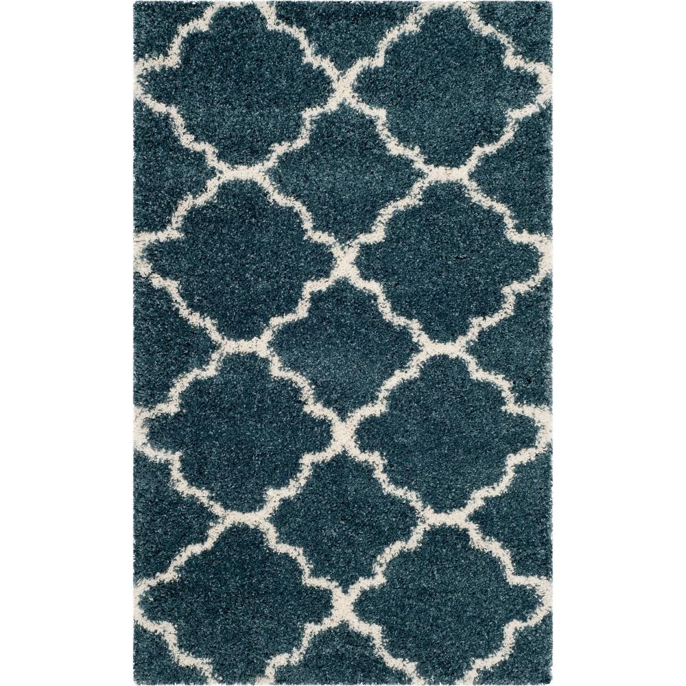 3'X5' Quatrefoil Design Loomed Accent Rug Slate Blue/Ivory - Safavieh